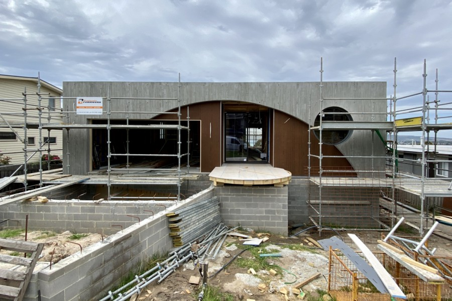 New build, two level home under construction.